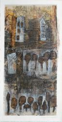 Lineare Strukturen VII, 2011 <br> 680 x 355 mm Mixed Media auf Bütten